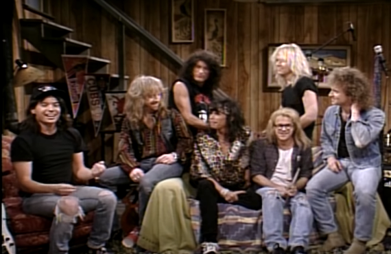 "Aerosmith, Mike Myers and Dana Carvey on ""Wayne's World"" on Saturday Night Live (NBC)"