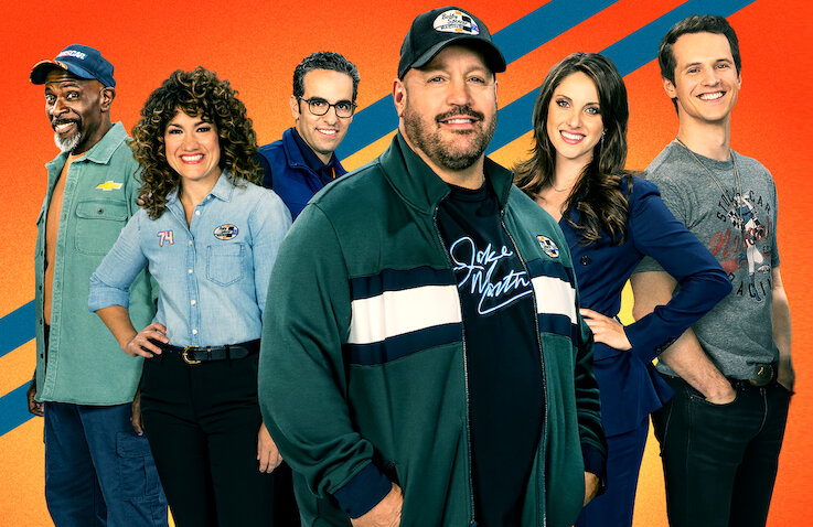 Gary Anthony Williams, Sarah Stiles, Dan Ahdoot, Kevin James, Jillian Mueller and Freddie Stroma in The Crew. (Netflix)