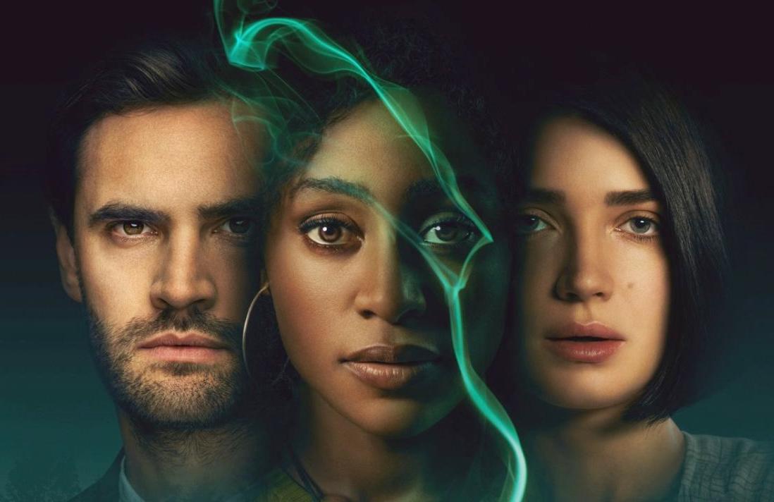 Tom Bateman, Simona Brown, and Eve Hewson star in Behind Her Eyes. (Netflix)