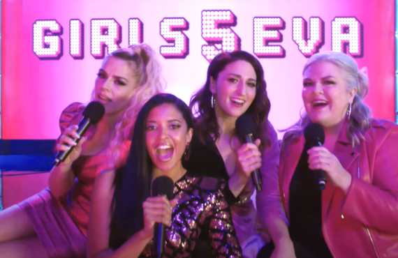 Busy Philipps, Renee Elise Goldsberry, Sara Bareilles, Paula Pell in Girls5Eva (Peacock)