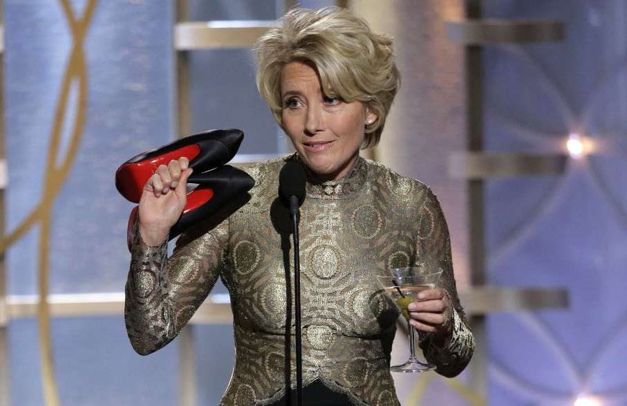 Nine-time Golden Globe nominee Emma Thompson memorably took the stage barefoot with a martini in hand at the 2014 Golden Globes. (Photo: NBC)