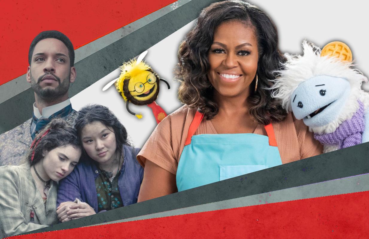 Royce Pierreson, Darci Shaw and Thaddea Graham in The Irregulars, Michelle Obama in Waffles + Mochi. (Photos: Netflix)