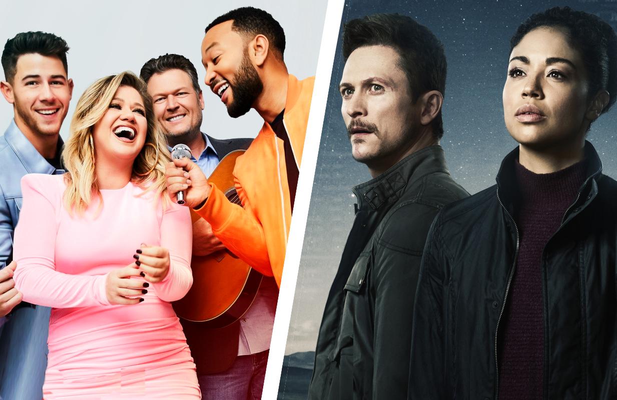 Nick Jonas, Kelly Clarkson, Blake Shelton and John Legend in The Voice, Jonathan Tucker and Riann Steele inDebris. (Photos: NBC)