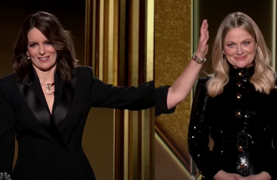 Tina Fey and Amy Poehler at The Golden Globe Awards (NBC)