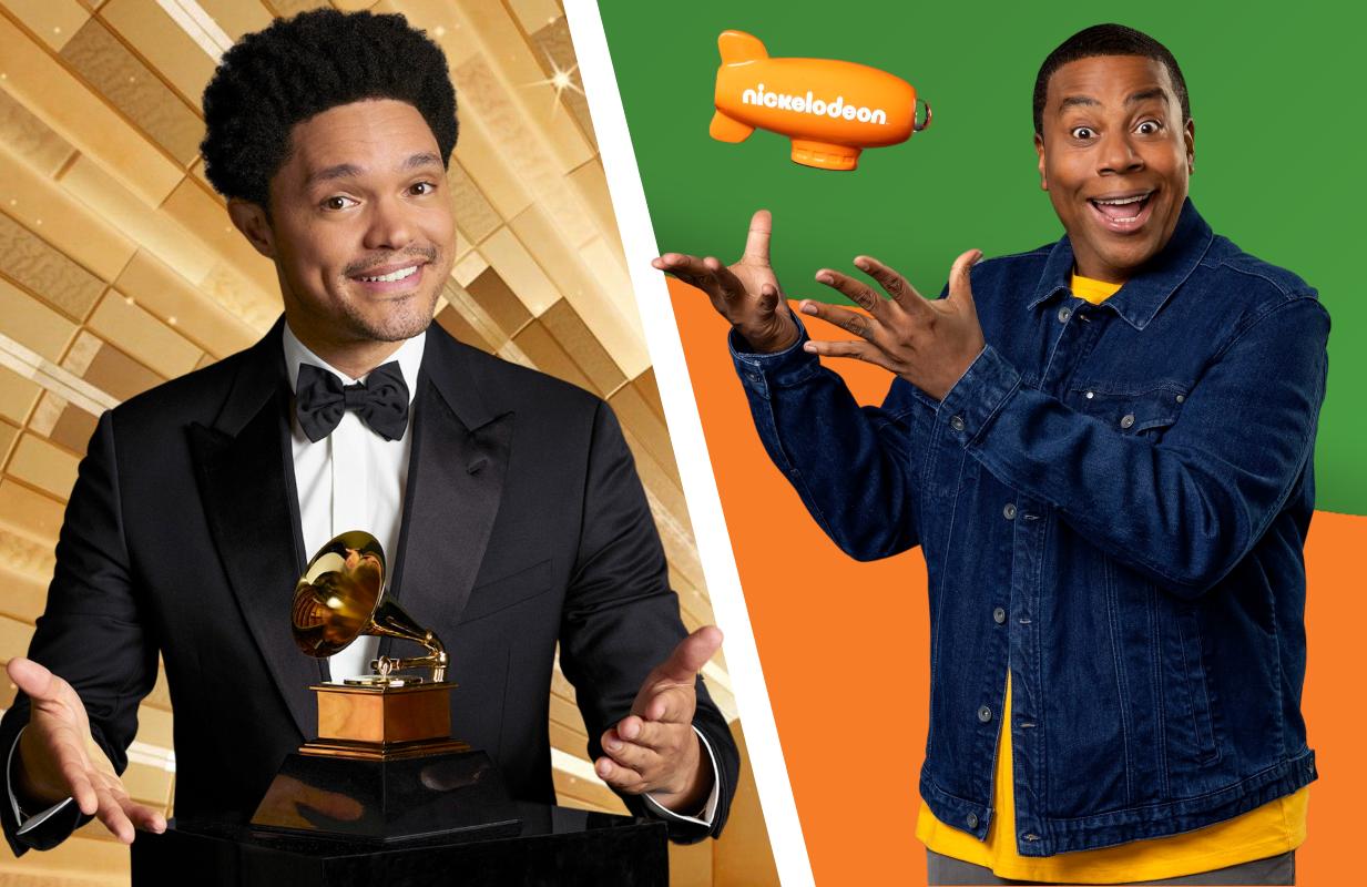 Trevor Noah hosts The 63rd Annual Grammy Awards, Kenan Thompson hosts the 2021 Kids' Choice Awards. (Photos: CBS/Nickelodeon)