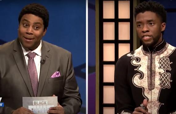 Kenan Thompson and Chadwick Boseman on Saturday Night Live (NBC)