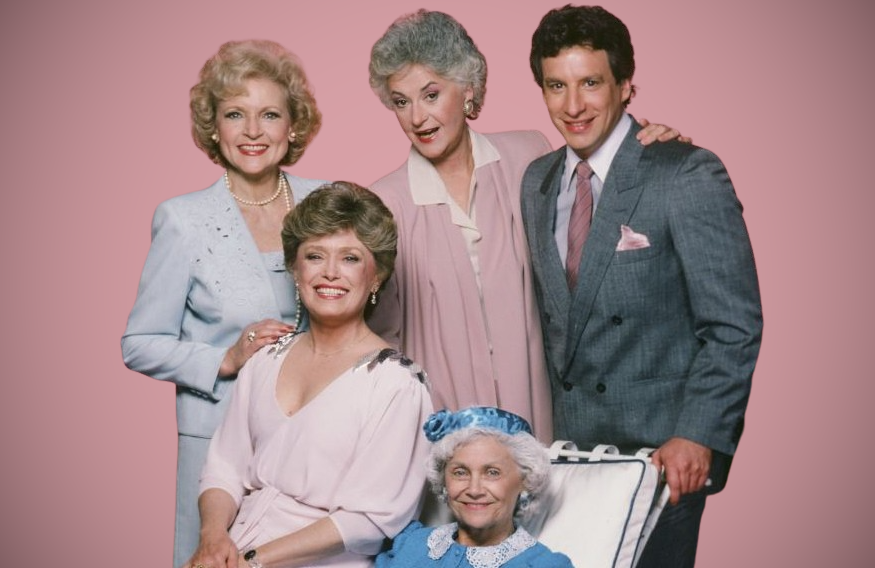 Betty White, Rue McClanahan, Bea Arthur, Charles Levin and Estelle Getty in The Golden Girls. (NBC)