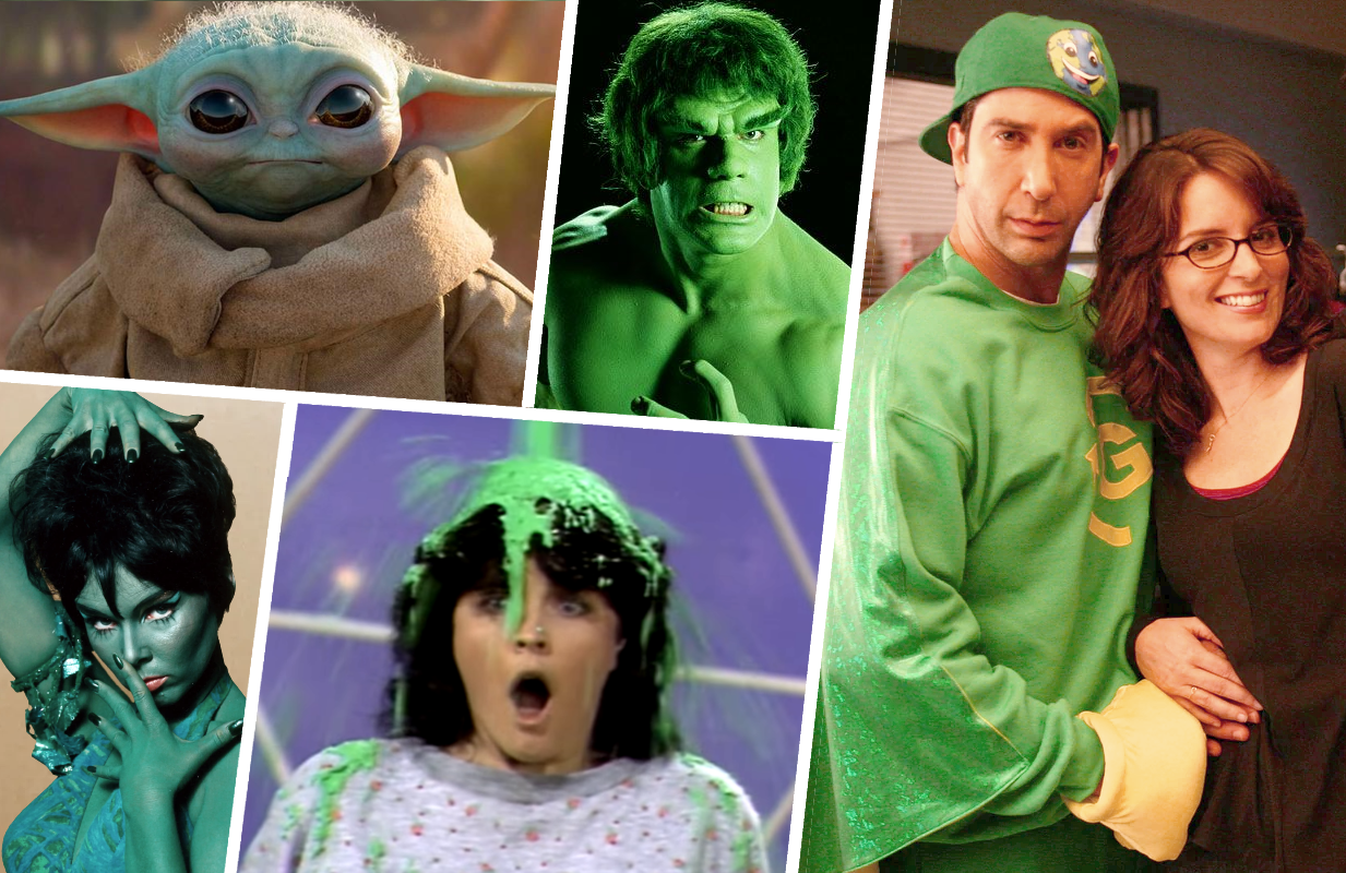 From Kermit and The Incredible Hulk to Greenzo, TV's had us seeing green for decades now. (Photos: Disney+, NBC, CBS, Nickelodeon)