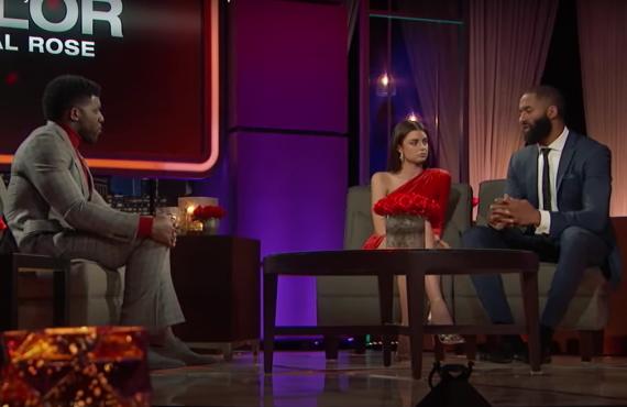 Emmanuel Acho, Rachael Kirkconnell, Matt James in The Bachelor (ABC)