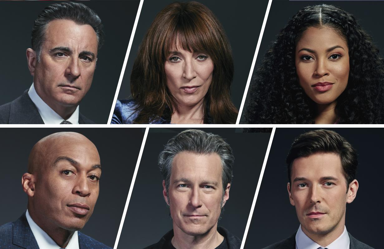Top row: Andy Garcia, Katey Sagal, Lex Scott Davis . Bottom row: James Lesure, John Corbett, Sam Palladio.