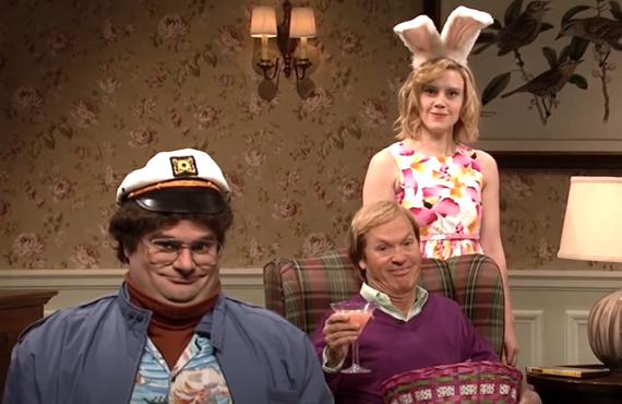 Bobby Moynihan, Michael Keaton, Kate McKinnon on Saturday Night Live (NBC)