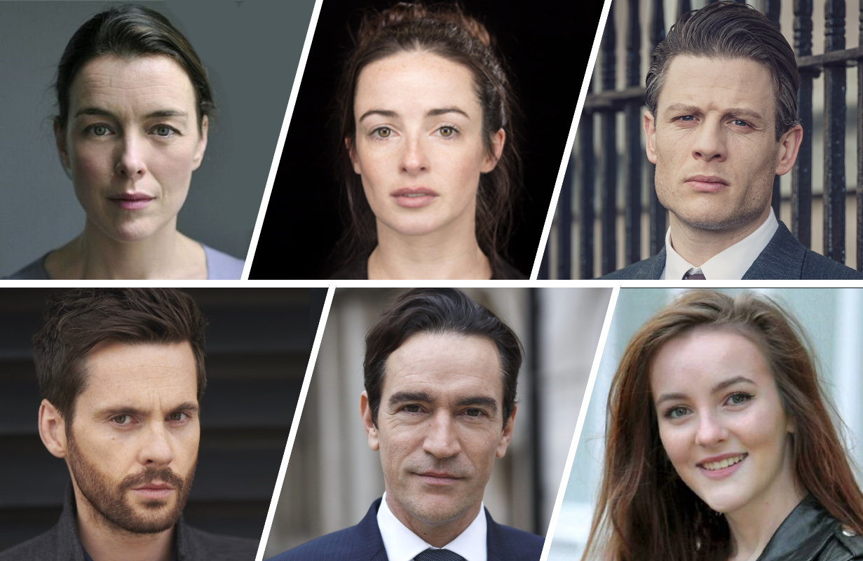 Top row: Olivia Williams, Laura Donnelly, James Norton. Bottom row: Tom Riley, Ann Skelly, and Ben Chaplin.