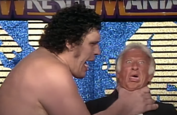 Andre the Giant and Bob Uecker in WrestleMania IV (WWE)