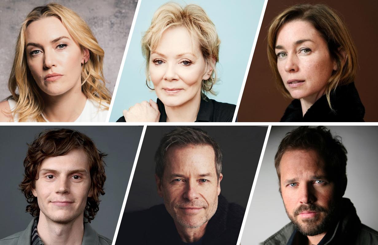 Top row: Kate Winslet, Jean Smart, Julianne Nicholson. Bottom row: Evan Peters, Guy Pearce, David Denman.