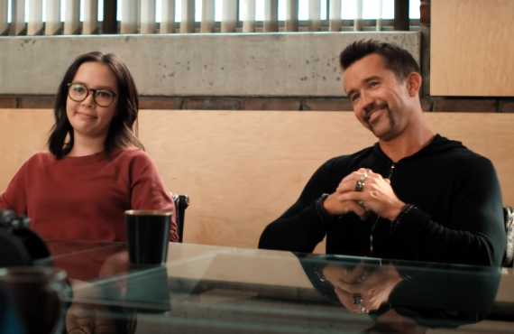 Charlotte Nicdao and Rob McElhenney in Mythic Quest (Apple TV+)