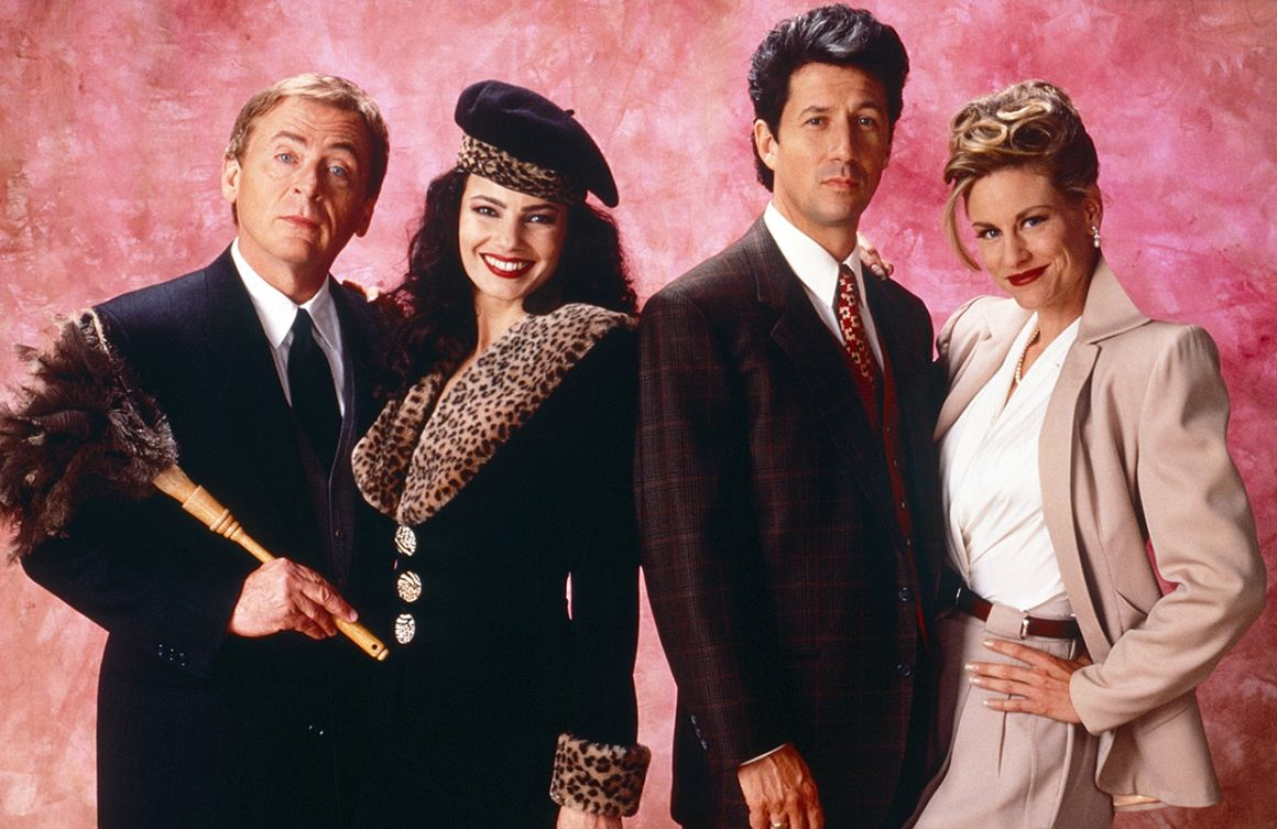 Daniel Davis, Fran Drescher, Charles Shaughnessy and Lauren Lane in The Nanny. (Photo: CBS)