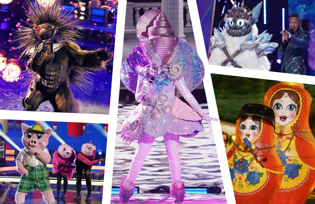 Robopine, Piglet, Seashell, Yeti and Russian Dolls face off tonight on The Masked Singer. (Photos: Fox)