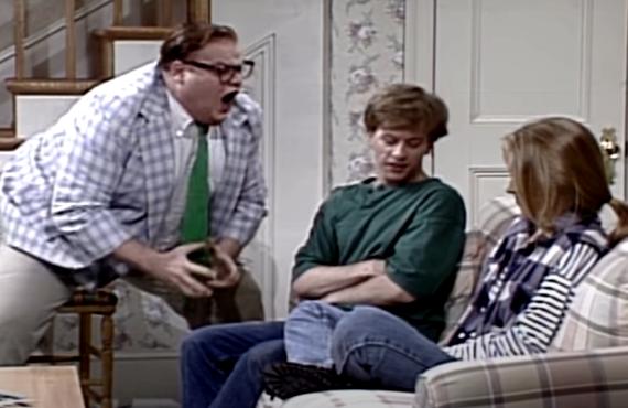 Chris Farley, David Spade, Christina Applegate on Saturday Night Live (NBC)