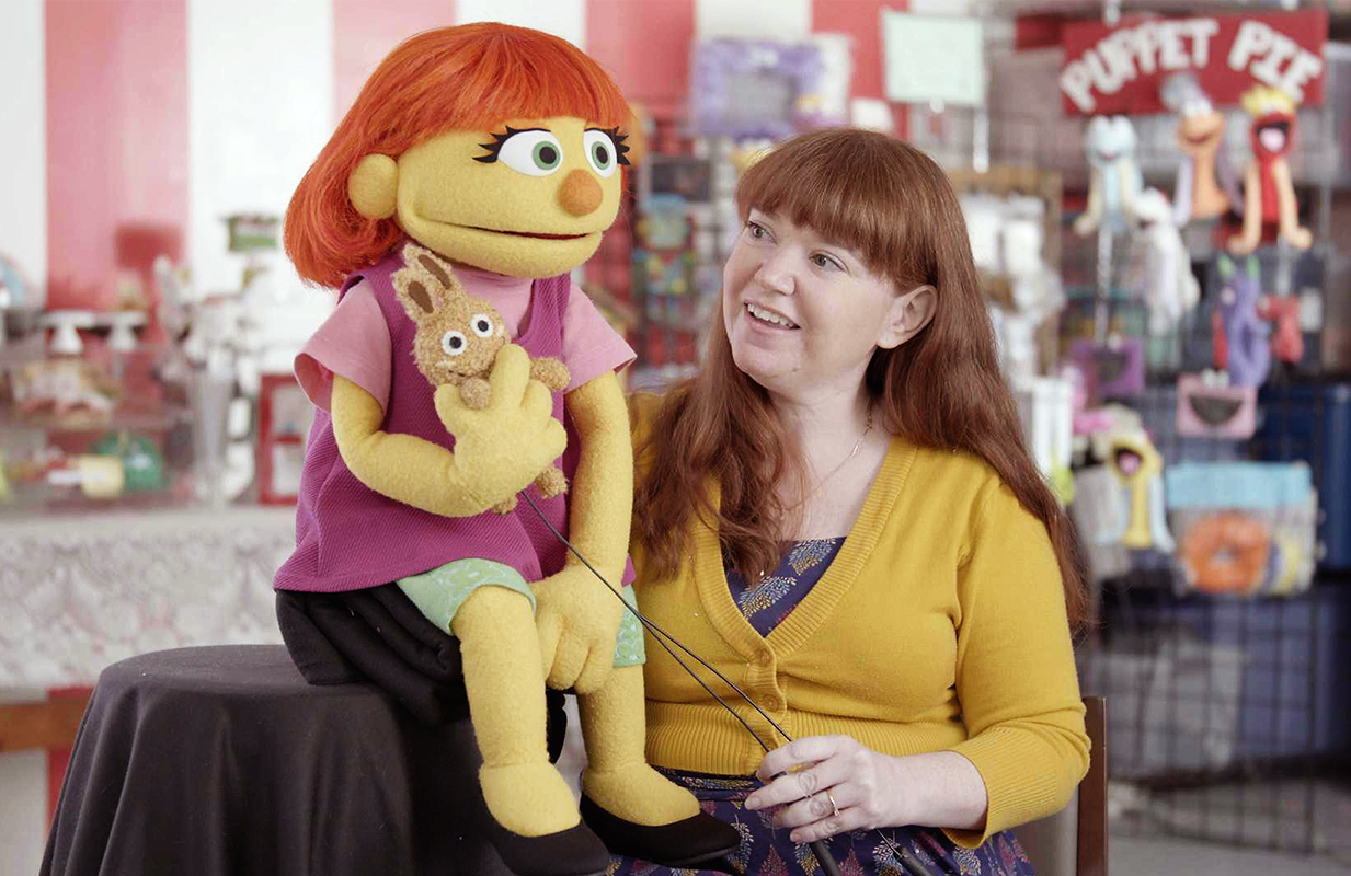 Stacey Gordon with her Sesame Street character, Julia (ABC)