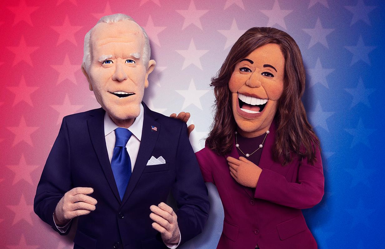 Puppet Joe Biden and puppet Kamala Harris in Let's Be Real (Frank Micelotta/FOX)