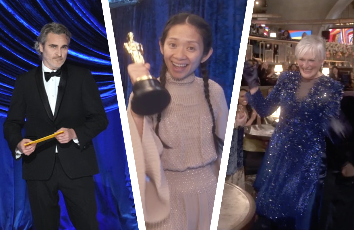Joaquin Phoenix, Chloe Zhao and Glenn Close at the 93rd Academy Awards. (Photos: ABC)