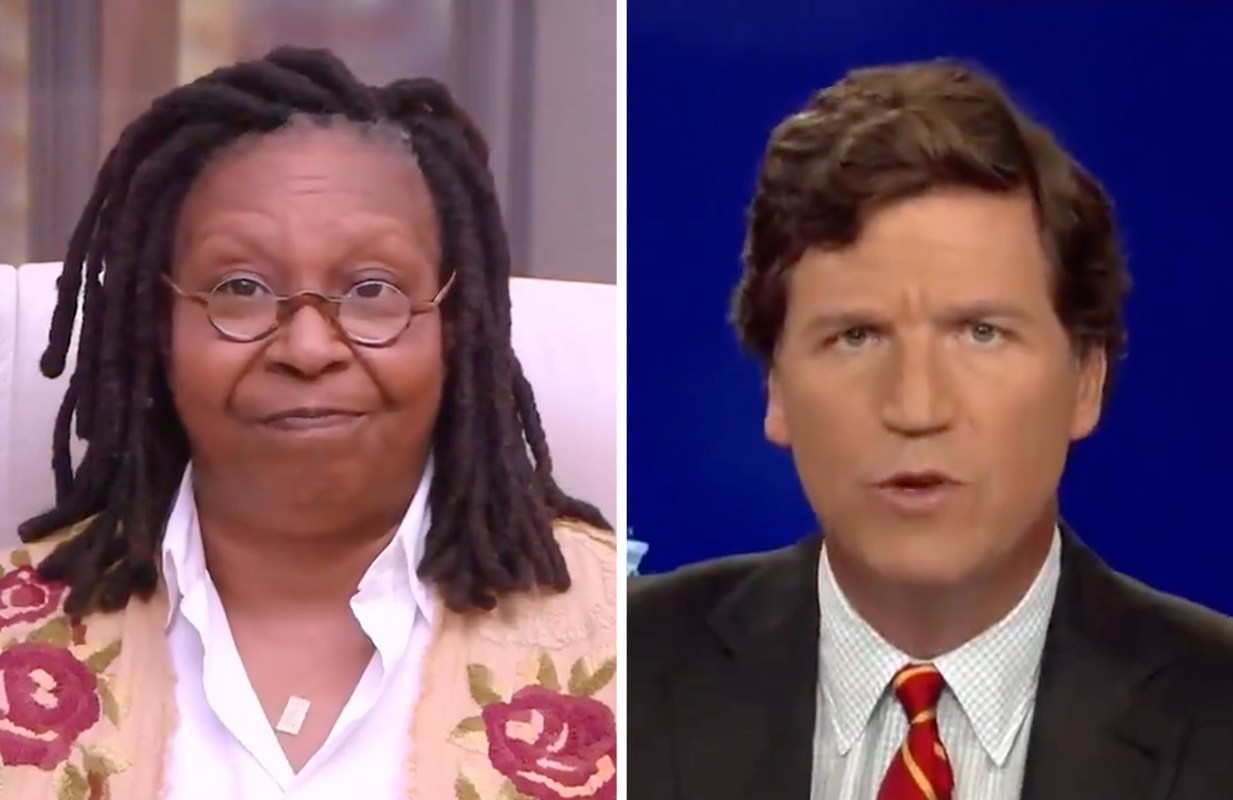 Whoopi Goldberg on The View; Tucker Carlson on Fox News (ABC/Fox News)