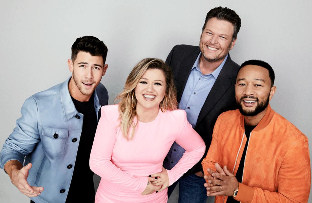 The Voice Season 20 coaches Nick Jonas, Kelly Clarkson, Blake Shelton, and John Legend (NBC)