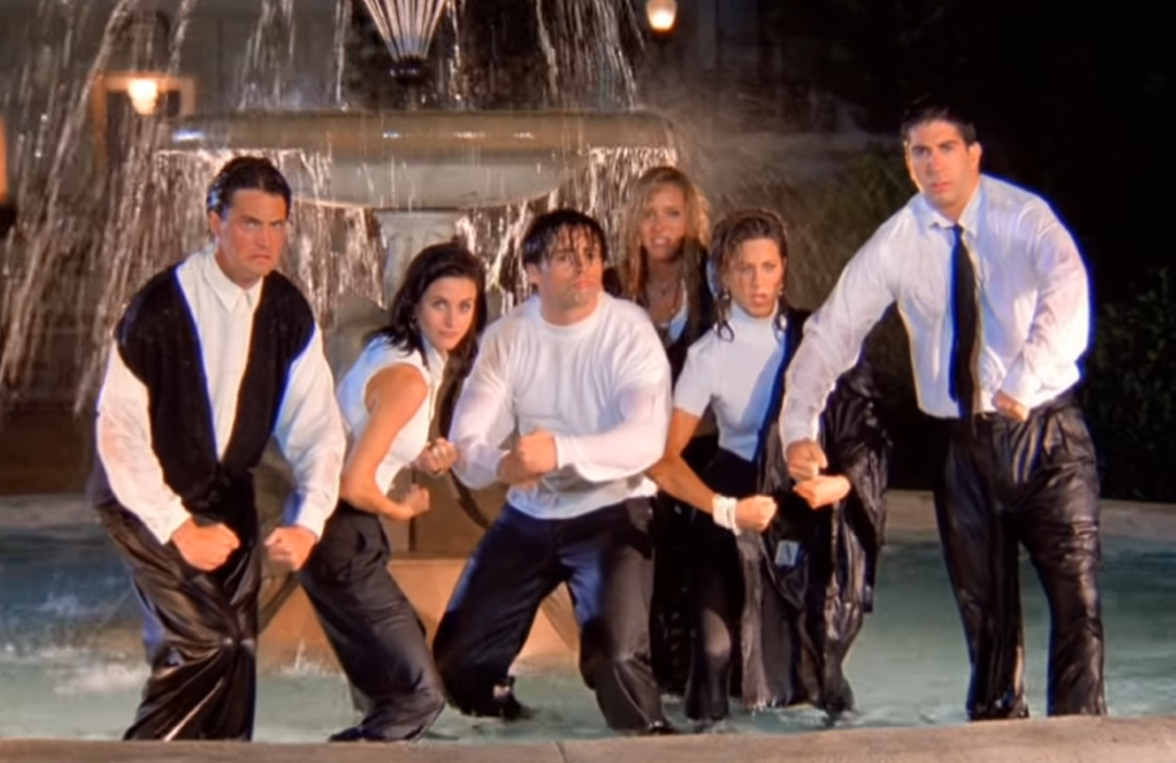 Wet and miserable: Matthew Perry, Courtney Cox, Matt LeBlanc, Lisa Kudrow, Jennifer Aniston and David Schwimmer strike a pose in the fountain.