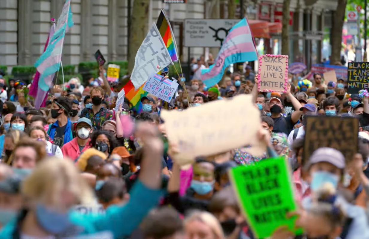 Black Trans Lives Matter demonstrators gathered by the thousands last June in London. (Photo: FX)