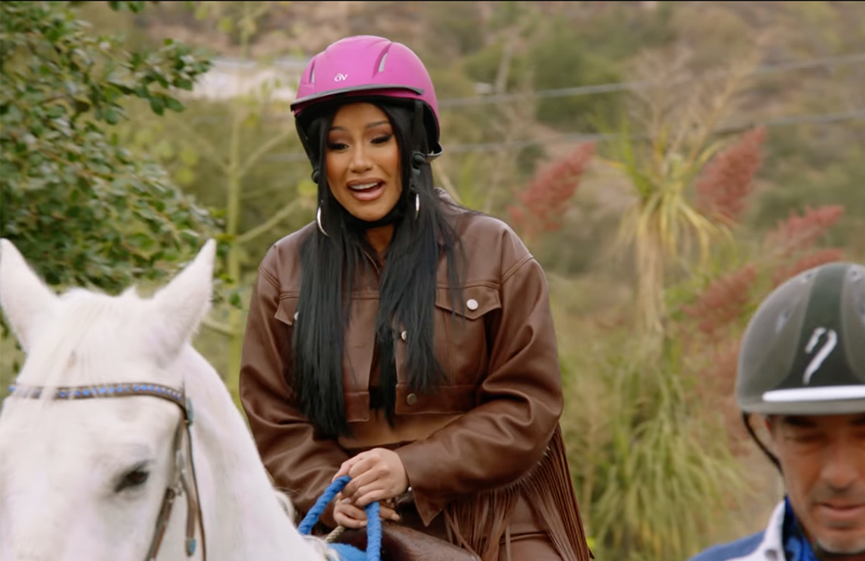 Cardi B learns how to ride a horse in Cardi Tries (Photo: Facebook Watch)