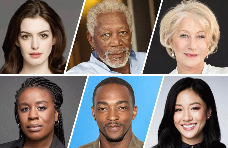 Top row: Anne Hathaway, Morgan Freeman, Helen Mirren; Bottom row: Uzo Aduba, Anthony Mackie and Constance Wu.