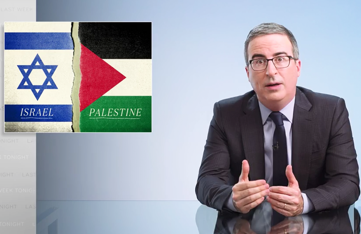 John Oliver opened Sunday's show with an examination of the violence in Israel-Palestine (Photo: HBO)