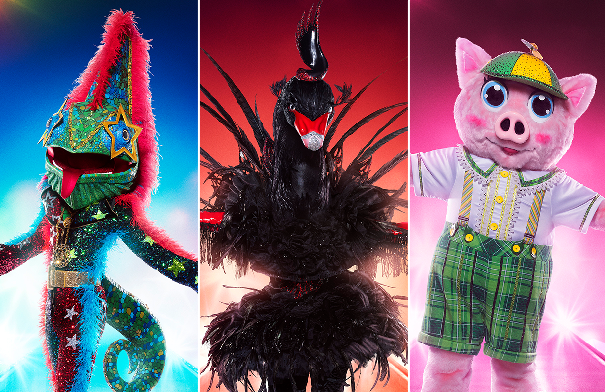 Chameleon, Black Swan, and Piglet compete for glory in The Masked Singer Season 5 finale. (Photo: Michael Becker/FOX)