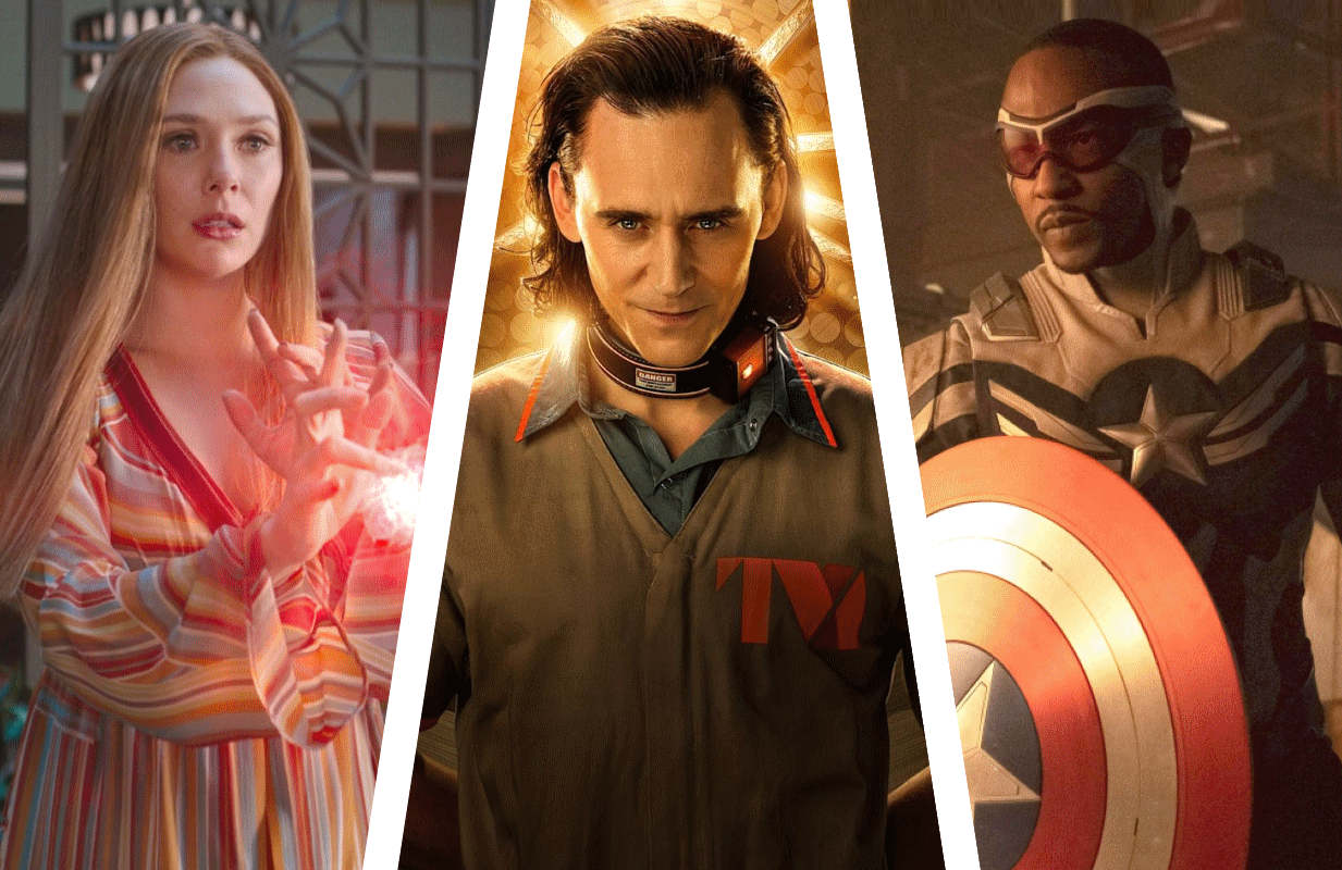 Elizabeth Olsen in WandaVision, Tom Hiddleston in Loki and Anthony Mackie in Falcon and the Winter Soldier. (Photos: Marvel/Disney+)