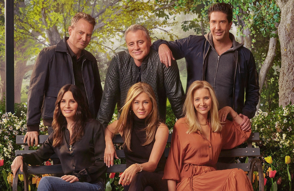 Reunited and it feels so good: Matthew Perry, Matt LeBlanc, David Schwimmer, Courteney Cox, Jennifer Aniston, and Lisa Kudrow in a promotional image for Friends: The Reunion. (HBO Max)