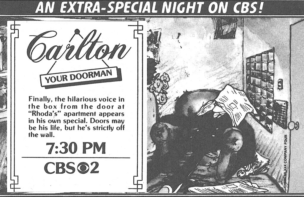 A vintage TV Guide ad for Carlton the Doorman.