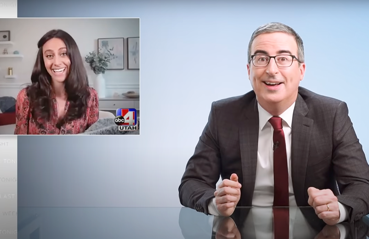 John Oliver introduced the world to the Venus Veil, the first sexual wellness blanket, Sunday on Last Week Tonight. (Photo: HBO)