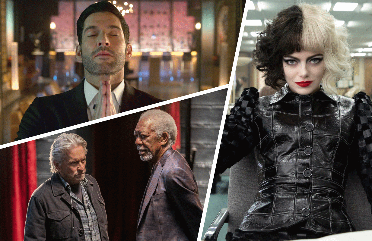 Tom Ellis in Lucifer, Michael Douglas and Morgan Freeman in The Kominsky Method, and Emma Stone in Cruella. (Photos: Netflix, Disney+)