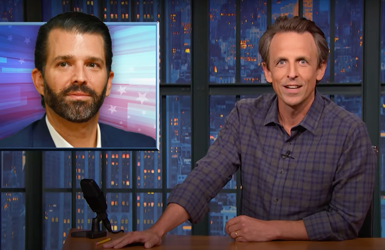 """Seth Meyers has no doubt that Trump will """"throw his family under the bus"""" to save his own behind. (Photo: NBC)"""