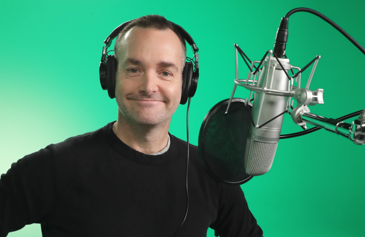 Will Forte at a voice recording session for Scoob!. (Eric Charbonneau/Warner Bros. Pictures)