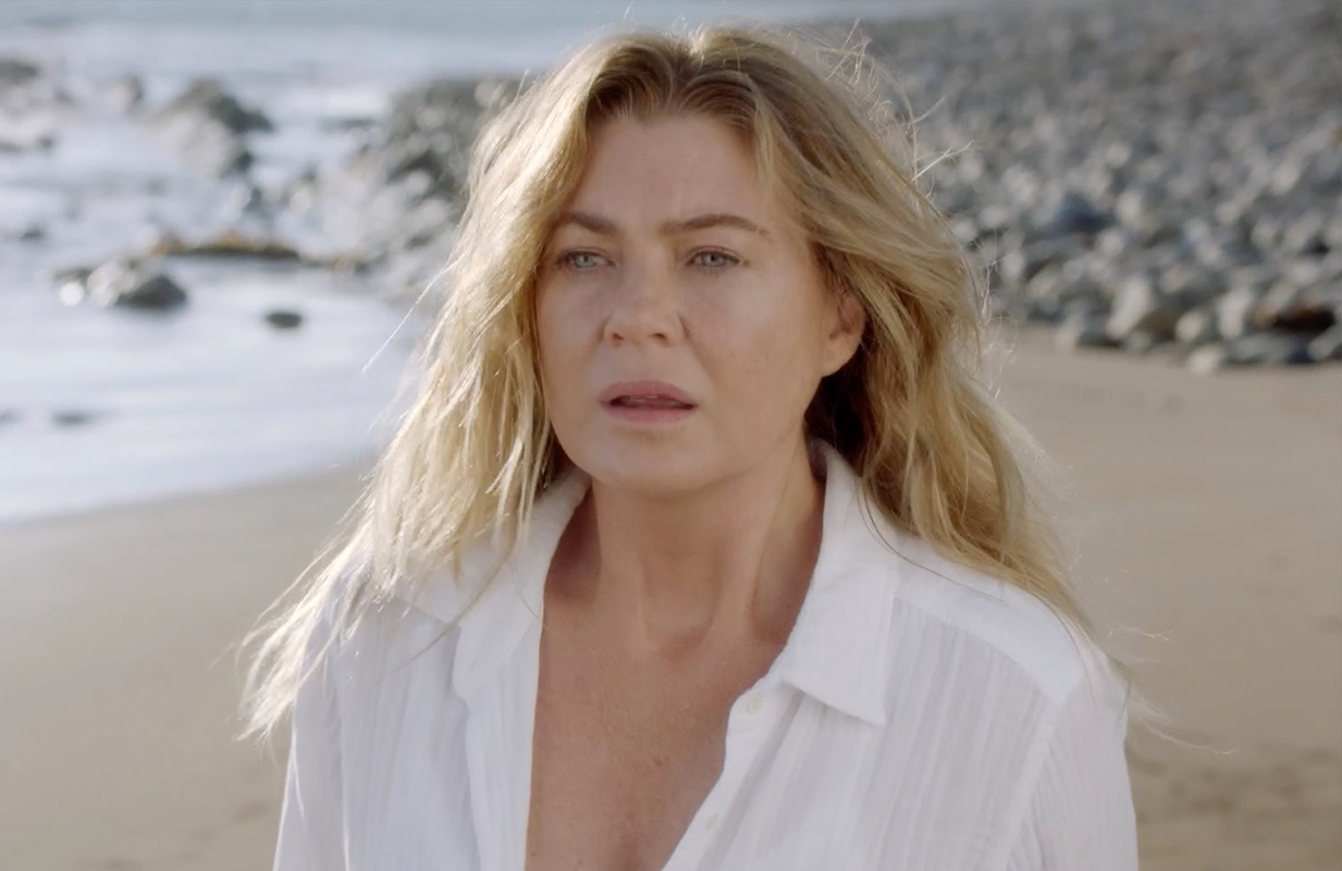 May we never have to see Meredith Grey (Ellen Pompeo) on that infernal beach again. (Photo: ABC)