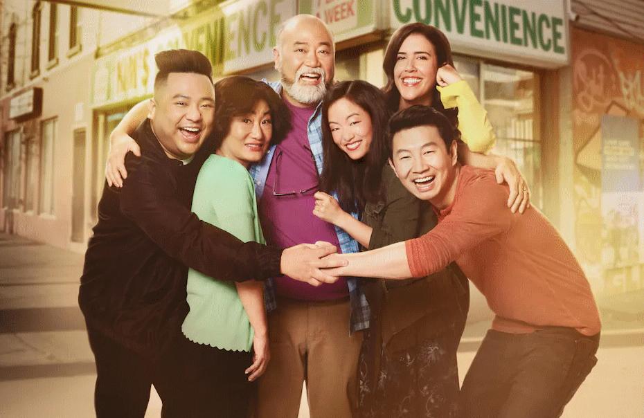 Andrew Phung, Andrea Bang, Paul Sun-Hyung, Jean Yoon, Nicole Power, and Simu Liu in Kim's Convenience. (Photo: Netflix)
