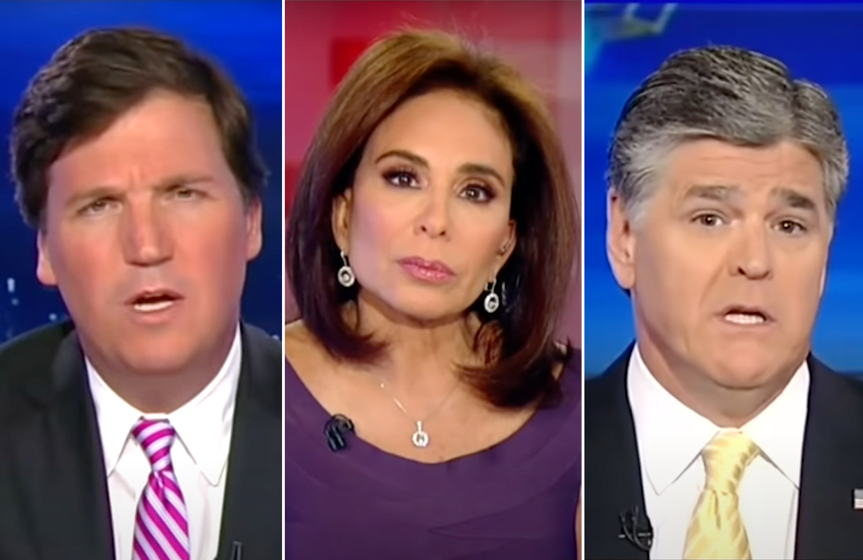 Tucker Carlson, Jeanine Pirro, and Sean Hannity were featured prominently in The Daily Show's hypocrisy reel. (Photos: Comedy Central)