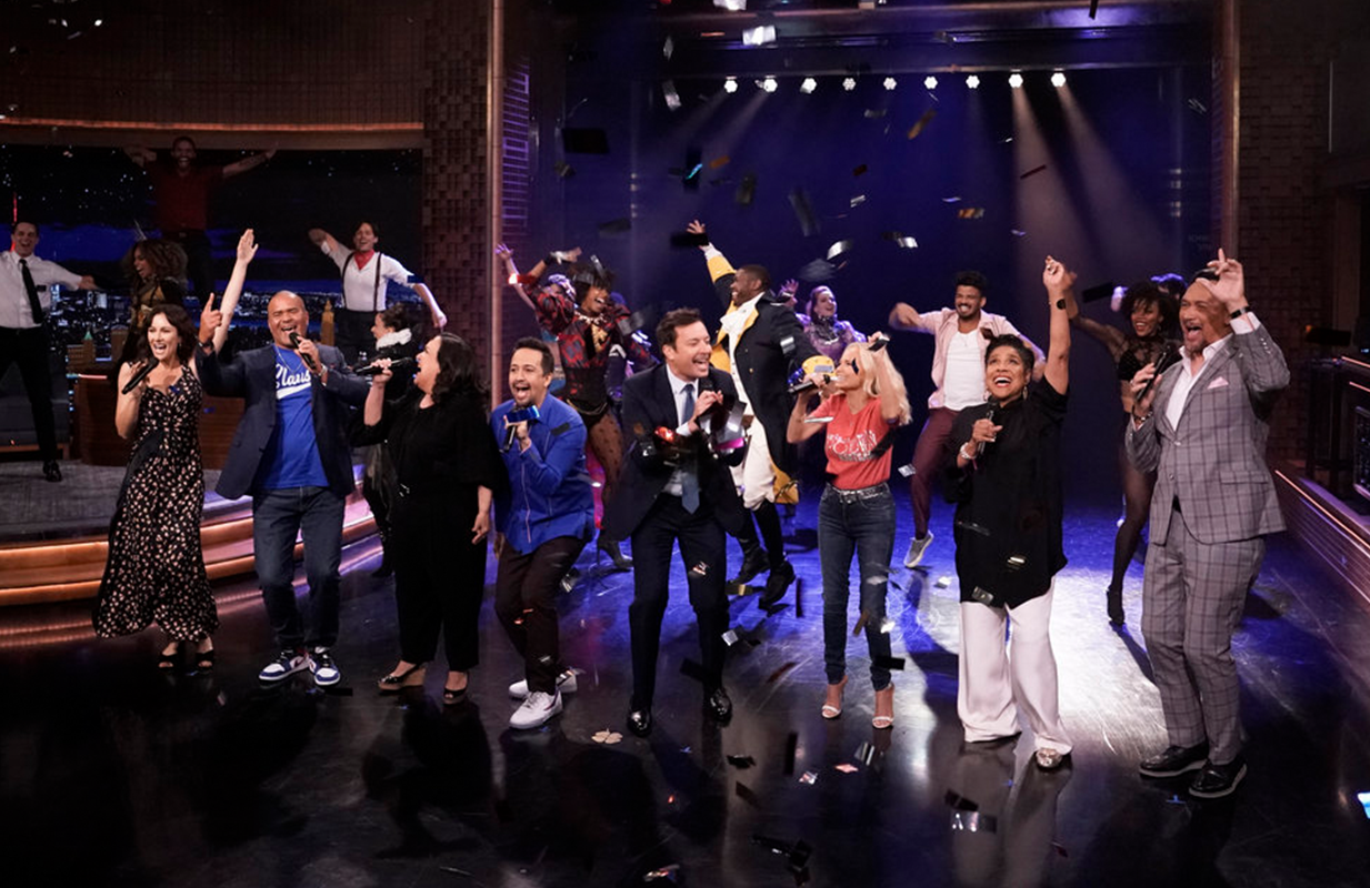 Jimmy Fallon and Lin-Manuel Miranda celebrated Broadway's impending return with a few of their famous friends. (Photo: NBC)