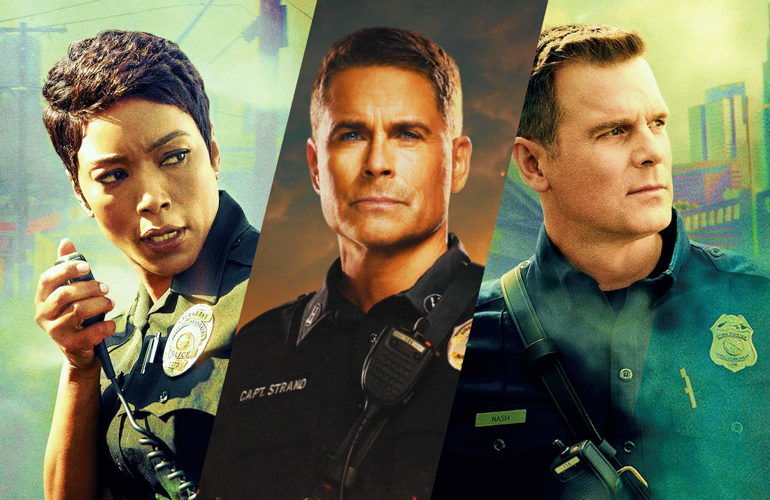 Rob Lowe of 9-1-1 Lone Star (center), with Angela Bassett and Peter Krause of 9-1-1. (Photos: Fox)