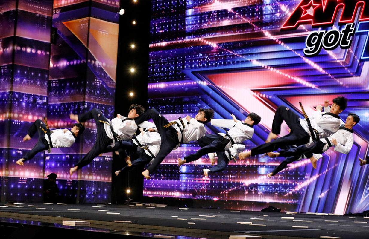 You do not want to mess with the World Taekwondo Demonstration Team. (Photo: NBC)
