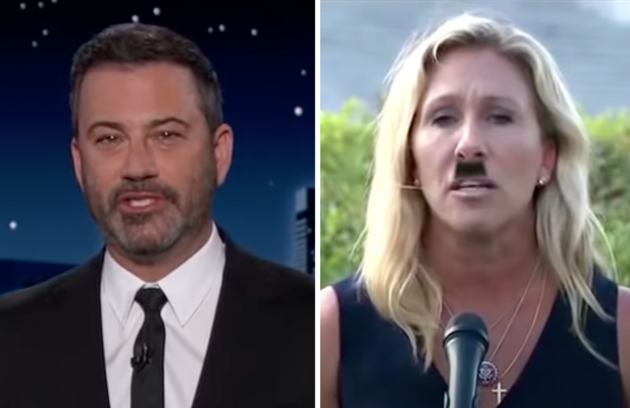 """""""It's amazing what a little education can do!"""" Kimmel joked about Greene's so-called apology. (Photos: ABC)"""