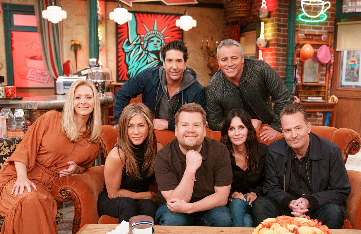 James Corden and the cast of <i>Friends</i> on the Central Perk set. (Photo: CBS)