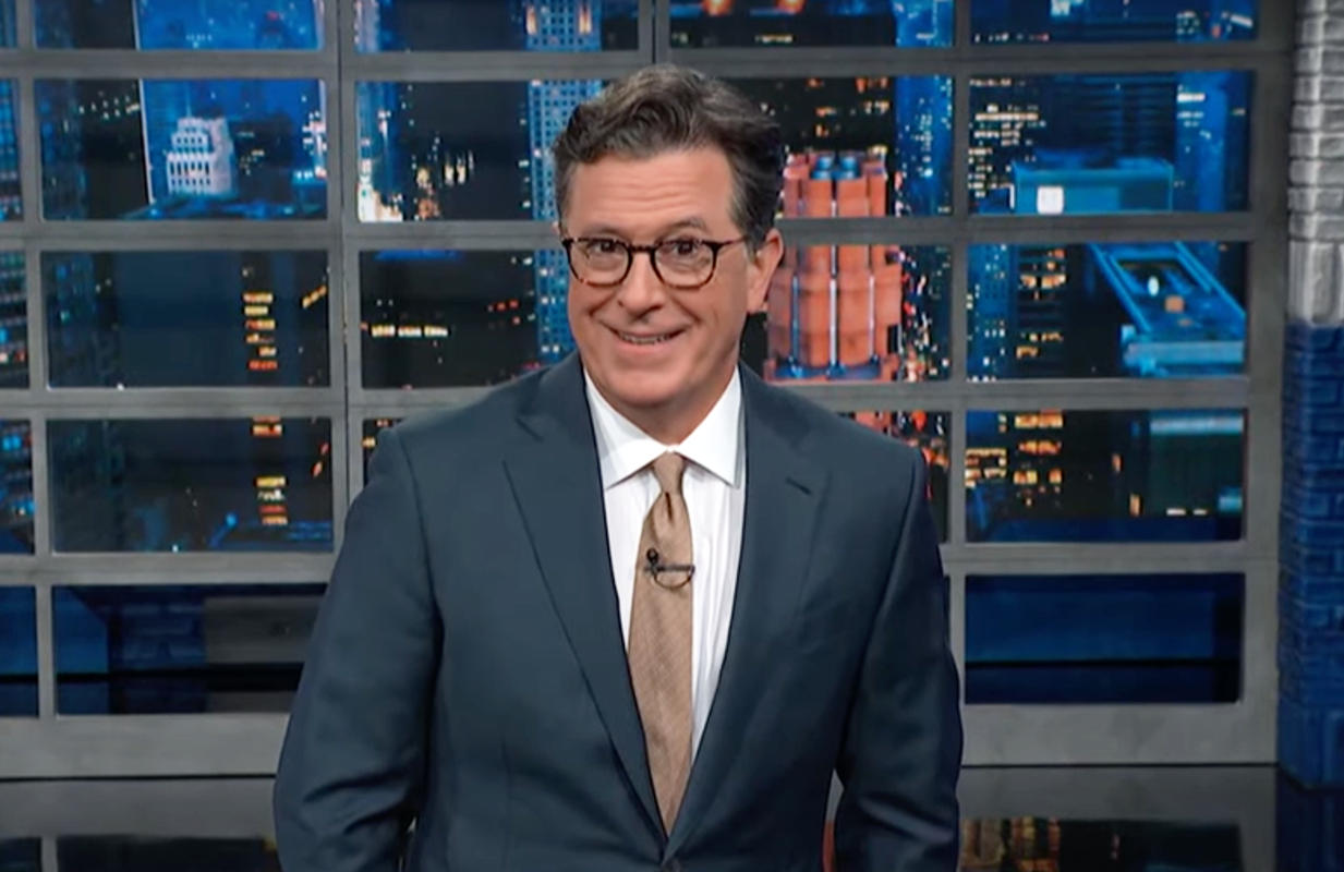 The Late Show host Stephen Colbert was met with a rowdy audience on Monday night. (Photo: CBS)