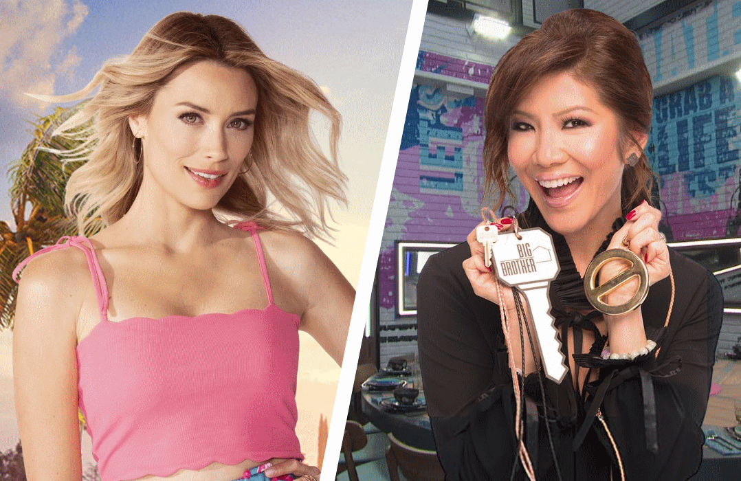 They're back: Love Island's Arielle Vandenberg and Big Brother's Julie Chen. (Photos: CBS)